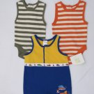 3 ADORABLE INFANT BOYS ONESIES & ROMPER OLD NAVY & HEALTHTEX SIZE 0-3 MOS