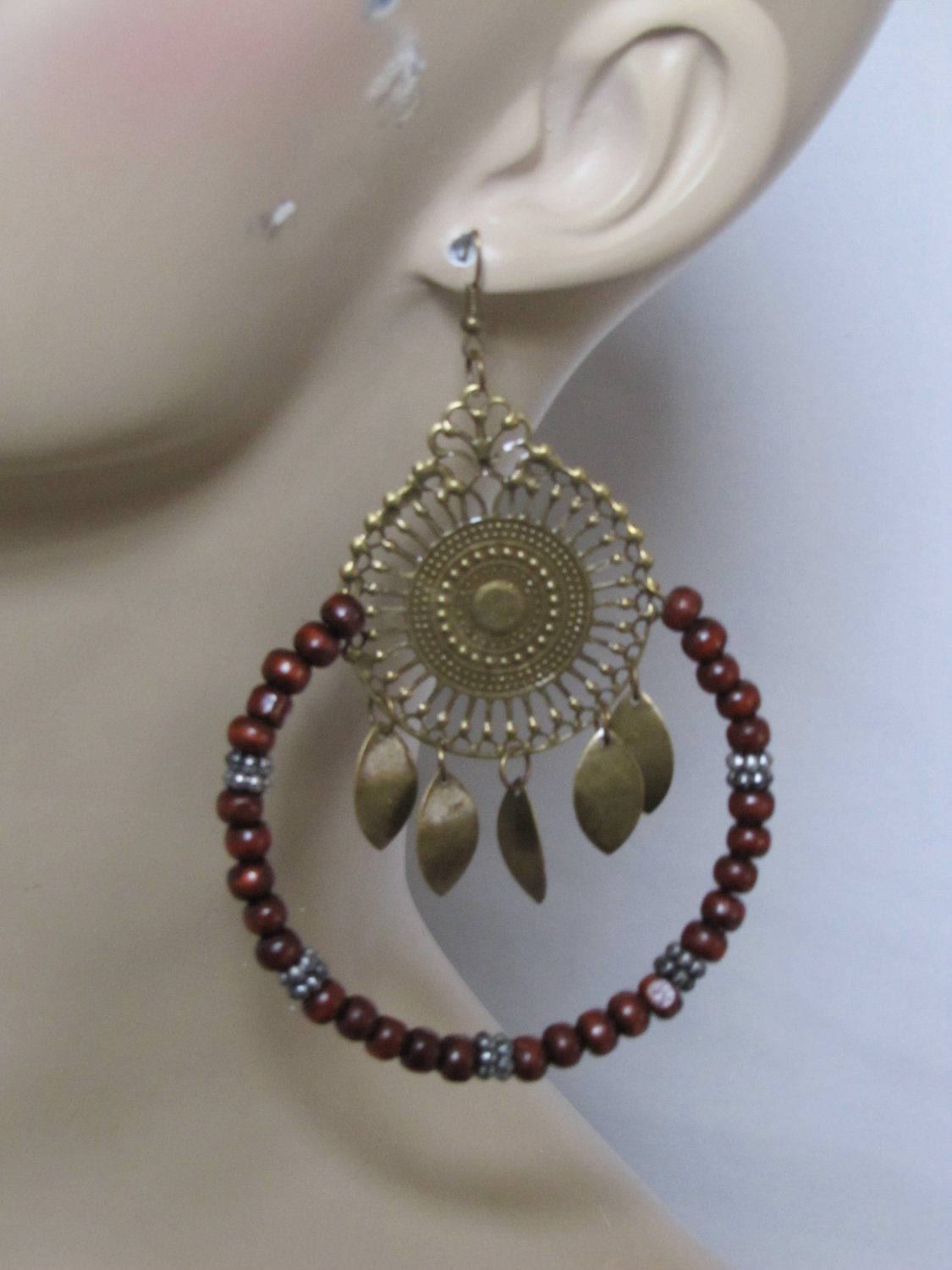 BROWN BEADED HOOP CENTER MEDALLION EARRINGS