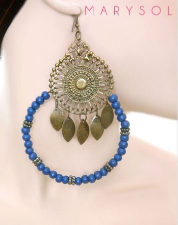 BLUE BEADED HOOP CENTER MEDALLION EARRINGS