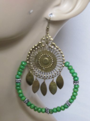 GREEN BEADED HOOP CENTER MEDALLION EARRINGS
