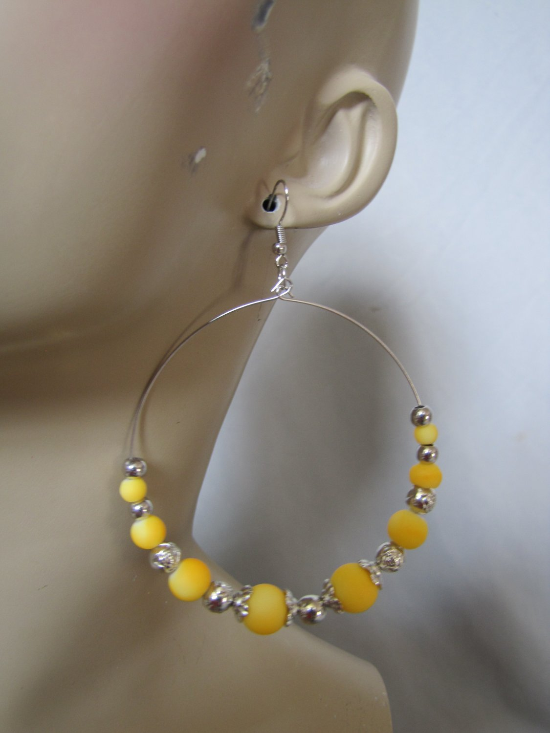 EXTRA LARGE SILVER TONE YELLOW BEADED HOOP EARRINGS