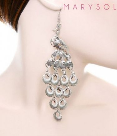 LARGE SILVER TONE PEACOCK CHANDELIER EARRINGS SUPER CUTE!