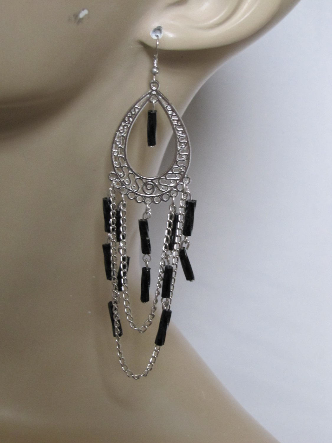 NEW CHROME TONE CHANDELIER EARRINGS WITH BLACK BEAD ACCENTS
