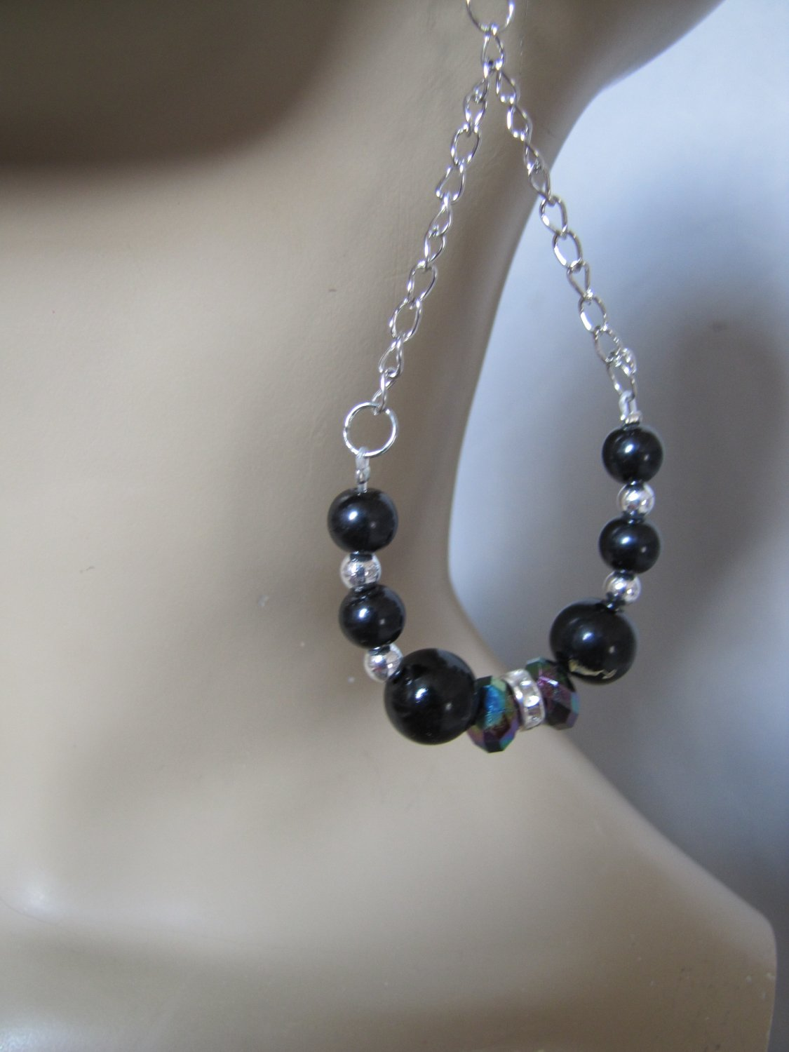 SILVER TONE BLACK PEARL STONE CHANDELIER EARRINGS