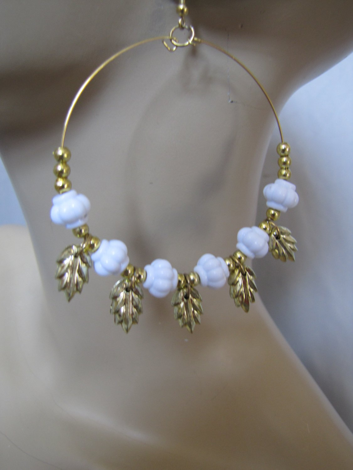 Fashion Hoop Earrings with White Beads & Leaf Detail