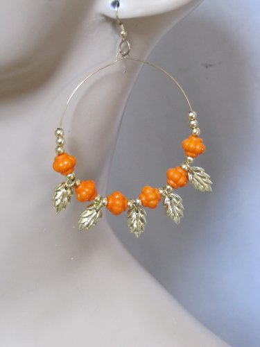 Fashion Hoop Earrings with Light Orange Beads & Leaf Detail