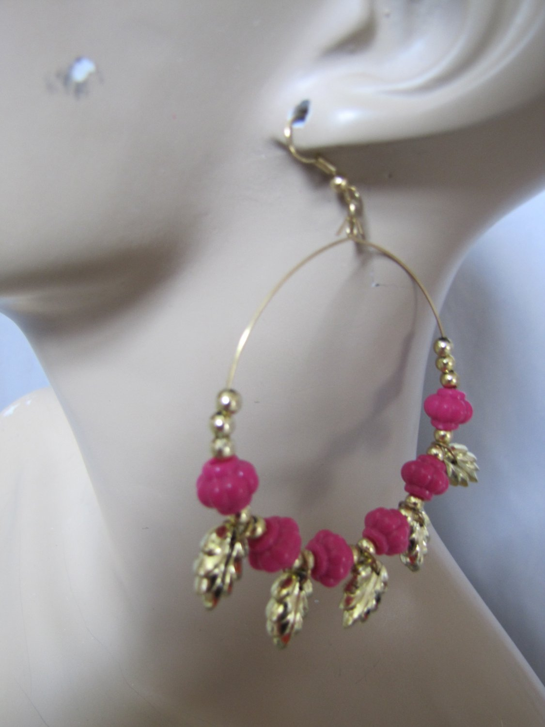 Fashion Hoop Earrings with Hot Pink Beads & Leaf Detail