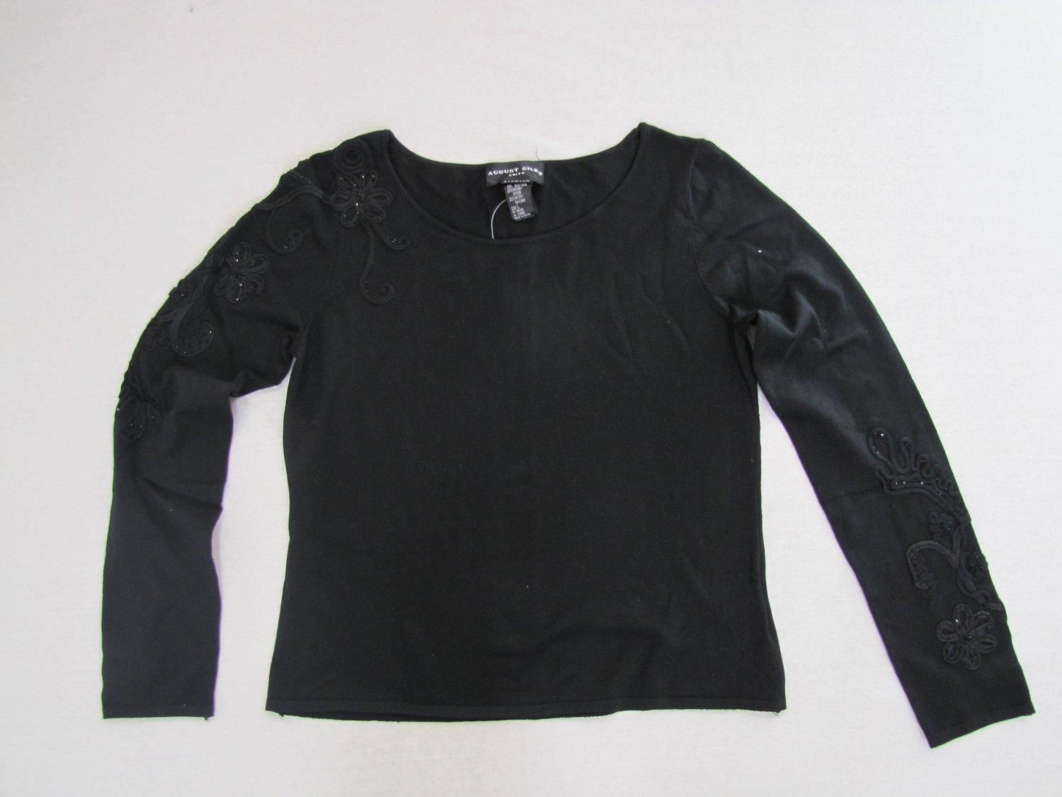 SILK BLACK SWEATER W/SQUINS & CORD DETAIL GORGEOUS MSRP $68 SIZE L