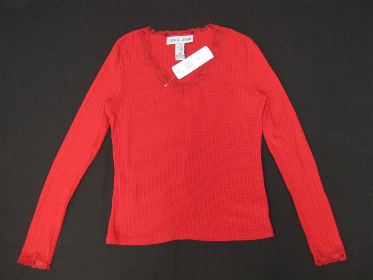 JONES JEANS RED V NECK LACE TRIM KNIT SHIRT SIZE MEDIUM