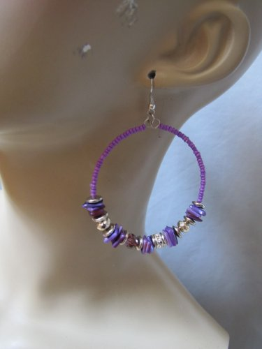 PURPLE COLOR BEAD HOOP EARRINGS LOTS OF BEAD DETAIL