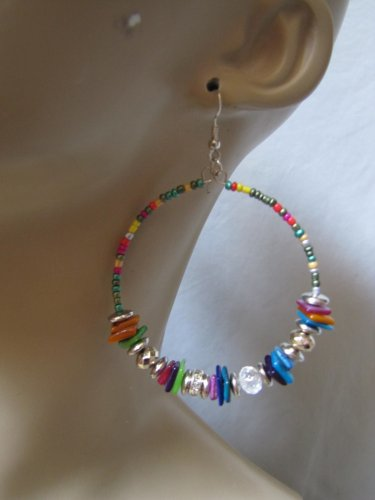 MULTI COLOR BEAD HOOP EARRINGS LOTS OF BEAD DETAIL