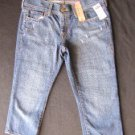 OLD NAVY BLUE DENIM DESTROYED/DISTRESSED 5 POCKET CAPRIS SIZE 6