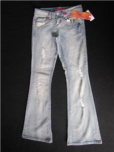 NWT GLO JUNIORS DESTROYED & EMBELLISHED JEANS WITH STRETCH SIZE 1