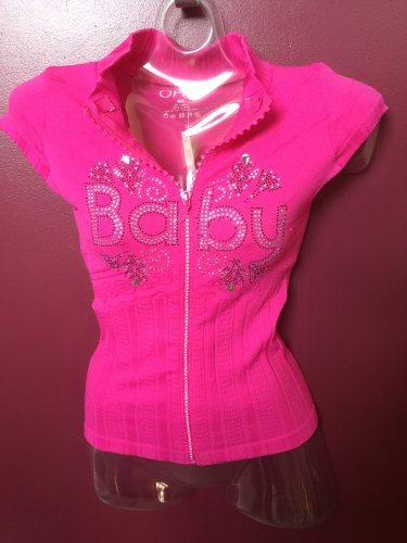NWT SEXY HOT PINK ZIPPER FRONT RHINESTONE DETAIL JUNIORS CLUB TOP SIZE M/L