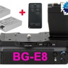for canon BG-E8 Battery Grip+2 LP-E8+Remote Control +Battery Charge​r