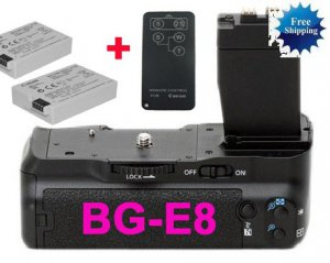 for canon BG-E8 Battery Grip+2 LP-E8+Remote Control +Battery Charge�r