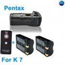 Battery Grip for Pentax K7 as D-BG4 +2 D-LI90+Remote Control