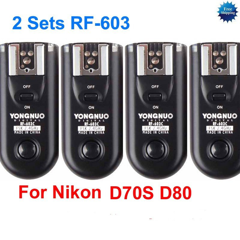2 Sets RF-603 N2 Radio Flash Trigger for nikon D70S D80 MC-DC1