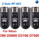 2 Sets RF-603 N3 Radio Flash Trigger for nikon D90 D5000 D3100 D7000