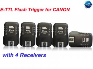 E-TTL Flash Trigger for CANON 1 Transmitter and 4 Receivers