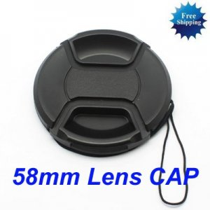 58mm Center Pinch Snap on Front Cap for Lens / Filters