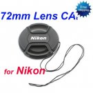 72 mm Center Pinch Snap-on Front Lens Cap for NIKON Lens