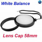 58 mm White Balance Lens Filter Cap with Filter Mount WB