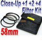 58 mm Macro Close-Up +1 +2 +4 Close Up Filter Kit
