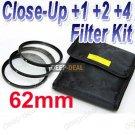 62 mm Macro Close-Up +1 +2 +4 Close Up Filter Kit