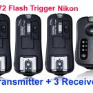 pixel TF372 Wireless Flash Trigger Nikon with 3 Receiver FlashGun studio light