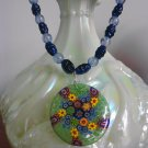 Viridis necklace - vintage glass, blue sapphire gemstone, and millefiori focal necklace