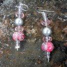 Lorelei Earrings - Swarovski crystal and glass pearl, mosaic magnesite, sterling silver