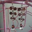 Tuvia Earrings - handcrafted copper, Swarovski crystal, and natural fluorite gemstones