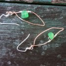 Olesia - Earrings w/sterling silver filled and solid copper wire with jade nugget bead