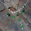 Genevieve - green peridot gemstone and sterling silver filled wire necklace