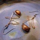 Alice - Earrings copper wire, copper stylized bead, silver fishhook ear wire