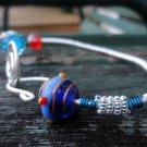 Benita - bangle bracelet, sterling silver filled wire, blue Artistic wire, vintage bead