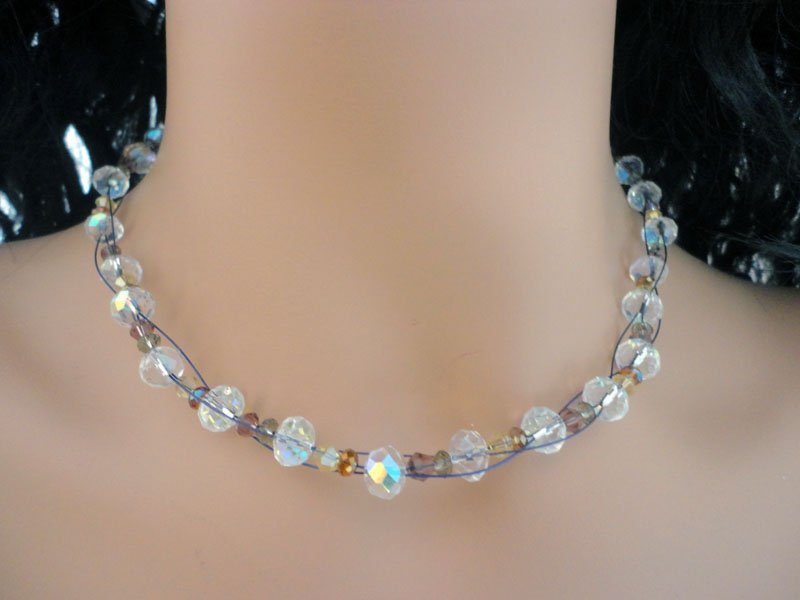 Jarka - Necklace featuring Swarovski crystals and sterling silver filled handmade clasp