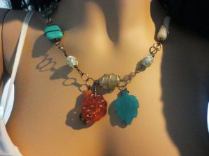 Hiroko - multi-stone handmade necklace - copper wire, agate, crystal, jasper, turquoise, carnelian