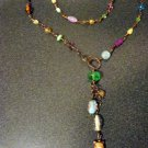 Vashti Necklace.  Vintage glass, Swarovski crystal, dyed jade beads, copper wire, handmade