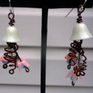 Fae - Earrings of vintage plastic/lucite flower beads, Swarovski crystals, Artistic wire