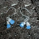 Nalani - Earrings.  Vintage periwinkle glass drop beads and sterling silver filled wire