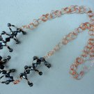 Zigana - Necklace handcrafted with copper wire and Czech glass black bicone beads.