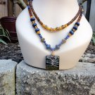 Urvasi - Two-strand necklace, vintage glass, lapis lazuli, lampwork pendant