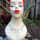 Xanthe - Spring necklace, hematite and silver wire, pastel glass and gemstone beads