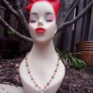 Tessa Kaidence - Necklace Dominican Larimar, blue chalcedony, orange vintage glass,.925 sterling