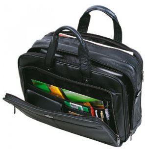 Leather laptop carry case