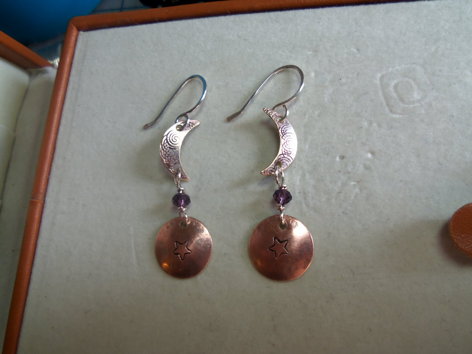 Copper crecent moon and star with crystal bead earings