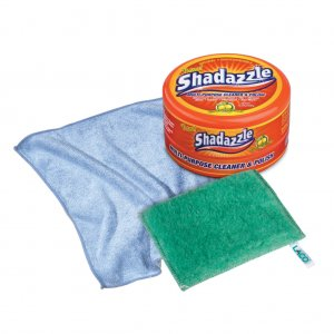 Shadazzle Multi-Purpose Cleaner & Polisher Tub + Polishing Cloth + Scrubbing Pad