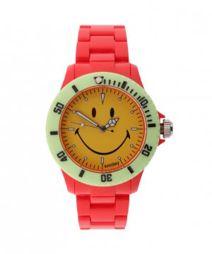 "Wave Gear Smiley ""Happy Time"" Men's WGS-CBRV01 Color Block Red and Yellow Analogue Watch"